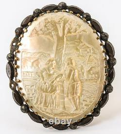 Antique Victorian Era Brooch in Mother of Pearl, Carved Scene, French Romantic
