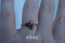 Antique Victorian French 14k Gold Old Cut Diamond Sapphire Ruby Ring