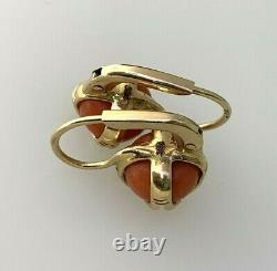 Antique Victorian French 14k Rose Gold Coral Earrings #B