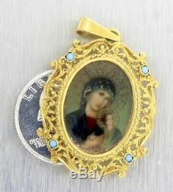 Antique Victorian French 18K 750 Yellow Gold Portrait Filigree Turquoise Pendant