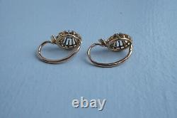 Antique Victorian French 18k Gold Old Cut Diamond Earrings