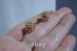 Antique Victorian French 18k Gold Rose Cut Diamond Earrings