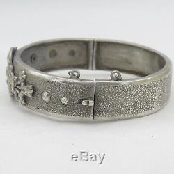 Antique Victorian French 800 Silver Textural Pendant Bangle Bracelet