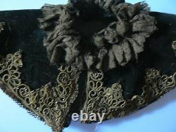 Antique Victorian French Beaded Doll Cape Velvet 4.5 L