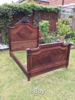 Antique Victorian French Bed frame Quarter Veneer Oak Wood Carved Old Vintage