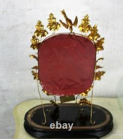 Antique Victorian French Bridal Wedding Dome Gold Gilt leaves Ormolu 19thC Sweet