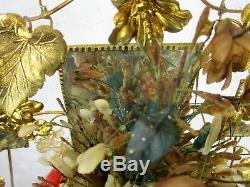Antique Victorian French Bridal Wedding Dome Gold Gilt leaves Ormolu Birds 19thC