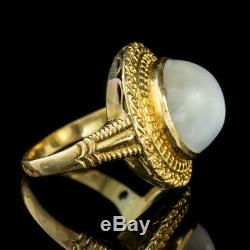 Antique Victorian French Cabochon Moonstone Ring 18ct Gold Circa 1880