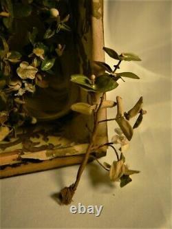 Antique Victorian French Cloth Flowers Wedding Tiara Walnut Frame Photo ca 1860