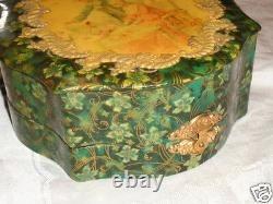 Antique Victorian French Couple Lady Piano All Celluloid Dresser Shaving Box