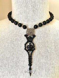 Antique Victorian French Cut Steel, Onyx Bead & Vulcanite Pendant Necklace