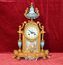 Antique Victorian French Gilt Spelter Sevres Style Porcelain Clock Case Quartz