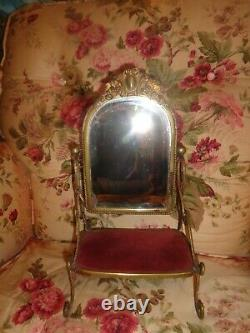 Antique Victorian French Gold Gilt Swinging Standing Vanity Table Dresser Mirror