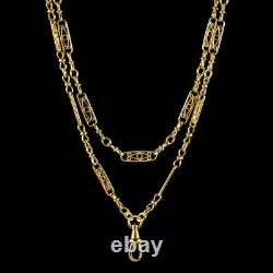 Antique Victorian French Guard Chain Silver 18ct Gold Gilt Circa 1900