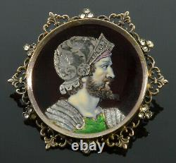 Antique Victorian French Limoges Enamel Zeus Cameo Paste Brass Brooch C. 1860