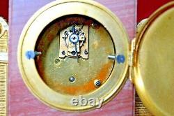 Antique Victorian French Miniature Pink Marble & Gilt Ormolu Mantle Clock Set