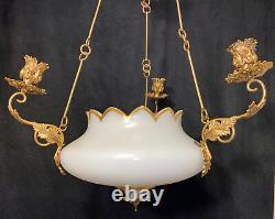Antique Victorian French Opaline Gas Chandelier 3 Arm Candle Gasolier Gold Gilt