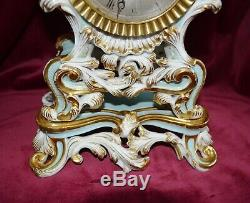 Antique Victorian French Ornate Porcelain Striking Clock & Stand Working