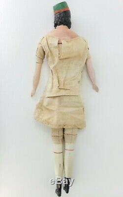 Antique Victorian French Paper Mache Milliners Model Doll with Hat 20 ca1870