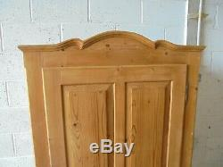 Antique Victorian French Pine Wardrobe With Drawer And Key