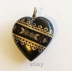 Antique Victorian French Pique Heart Drop/Charm/Pendant