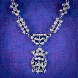Antique Victorian French Saint Esprit Paste Necklace Sterling Silver Circa 1850
