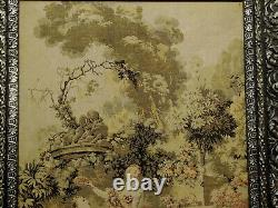 Antique Victorian French Silk Tapestry Original Black/Silver Wood & Gesso Frame