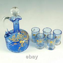 Antique Victorian French Spiral Glass Liquor Set Raised Gold Enamel Decanter