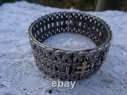 Antique Victorian French Sterling Silver Rose Gold Cross Bangle Bracelet