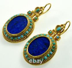 Antique Victorian French Turquoise Lapis Lazuli Dangle Earrings C. 1880