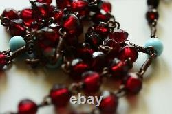 Antique Victorian French or German Rosary Bronze Cross Big Garnet Beads