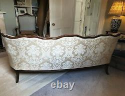Antique Victorian French style walnut settee / sofa in ivory damask