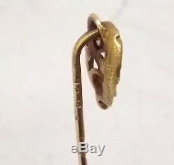Antique Victorian Gargoyle Snake Tie Pin Brooch 18c Gold Diamond French Hallmark