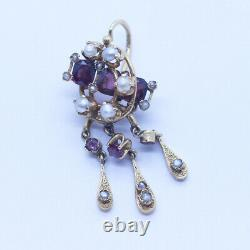Antique Victorian Georgian Earrings 18k Gold Garnets Pearls French (6386)