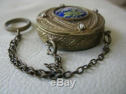 Antique Victorian Gold French Jewel Cobalt Blue Floral Chatelaine Compact FRANCE