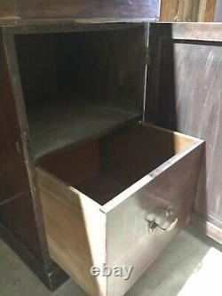 Antique Victorian Mahogany Pedestal Chiffonier Dresser Sideboard Server