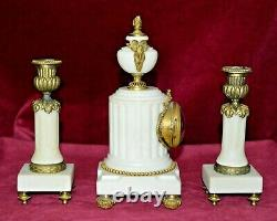 Antique Victorian Miniature French Marble & Gilt Ormolu Clock with Garnitures