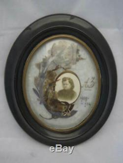Antique Victorian Mourning Hair Art in Frame 5 Year Old French Girl Memento Mori