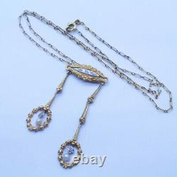 Antique Victorian Necklace Collier Neglige 18k Gold Diamonds Pearls French 6403