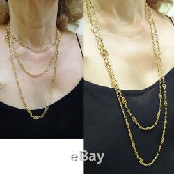 Antique Victorian Nouveau long Chain Necklace Sautoir 18k Gold French (6573)