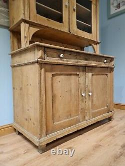 Antique Victorian Pine Vintage Farmhouse Dresser Cupboard French Style Cabinet