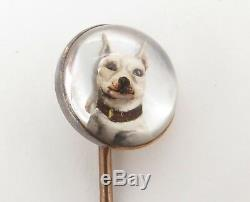 Antique Victorian Reverse Intaglio Essex Crystal French Bulldog Gold Stick Pin