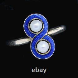 Antique Victorian Ring 18k Gold Pearls Blue Enamel French Napoleon III (6346)