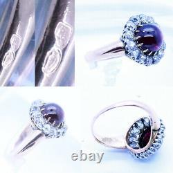 Antique Victorian Ring 18k Gold Platinum Diamonds Cabochon Garnet French (6790)