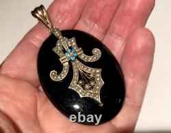 Antique Victorian Rose Gold Silver Pearl Turquoise Large French Jet Locket