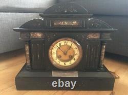 Antique Victorian S Marti French Slate Marble Mantel Clock Architectural Ornate