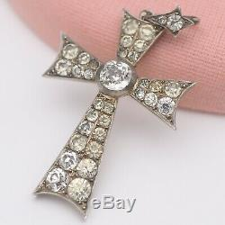 Antique Victorian Sterling Silver French Paste Cross Pendant
