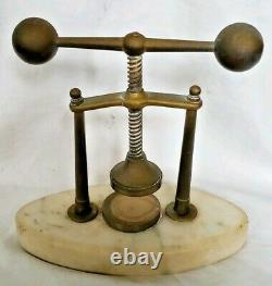 Antique Victorian Tincture Press Apothecary French Marble Bronze