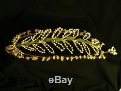 Antique Victorian WAX FLOWER Bridal Wreath Headpiece Headband Crown French RARE
