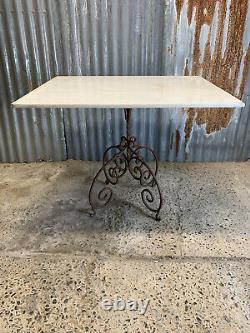 Antique Vintage Cast Iron Garden Table Marble Top Weathered Stone Rusty French